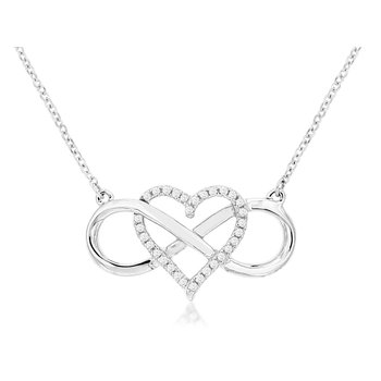 Open Diamond Heart Infinity Necklace
