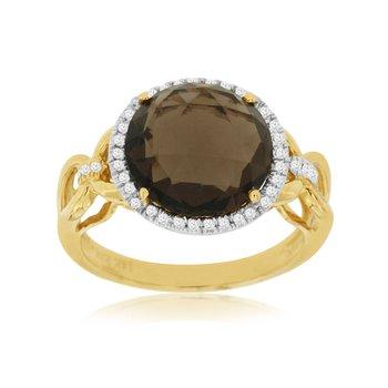 Smoky Quartz Diamond Halo Fashion Ring