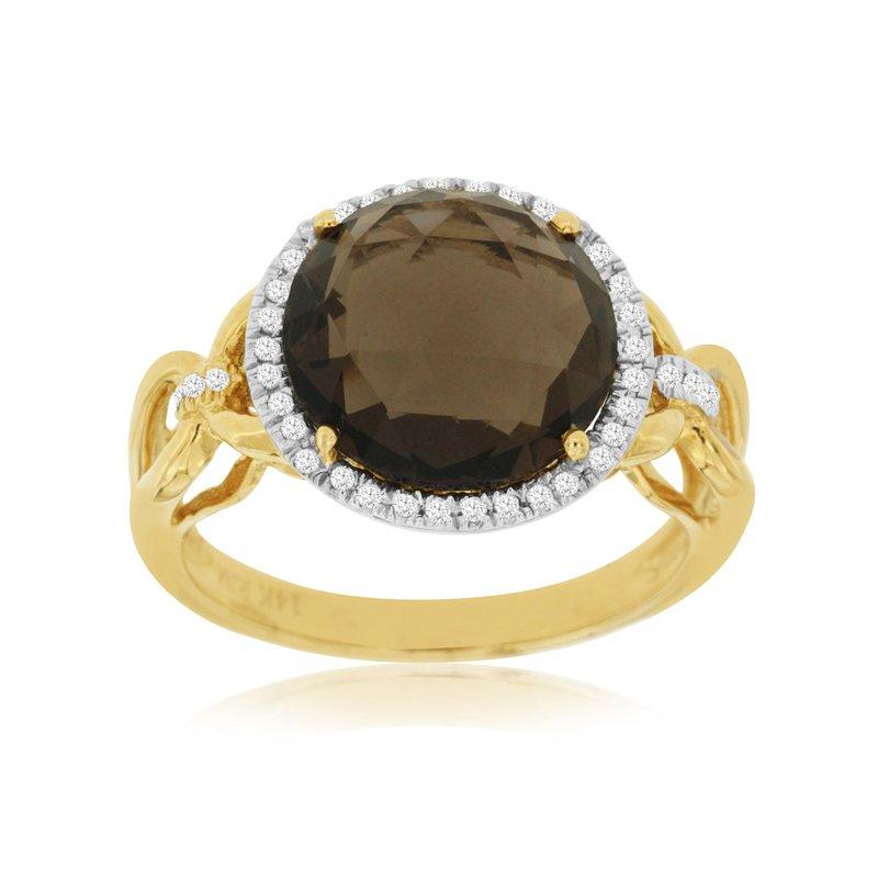 Murphy Pitard Signature Collection Smoky Quartz Diamond Halo Fashion Ring