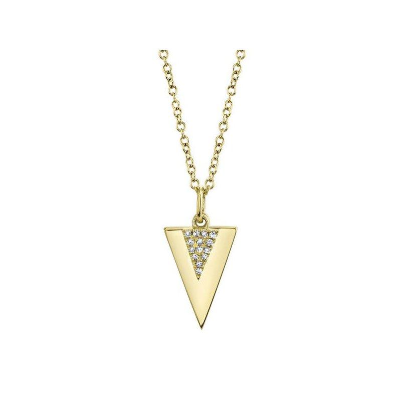 Shy Creation Diamond Triangle Polished Necklace