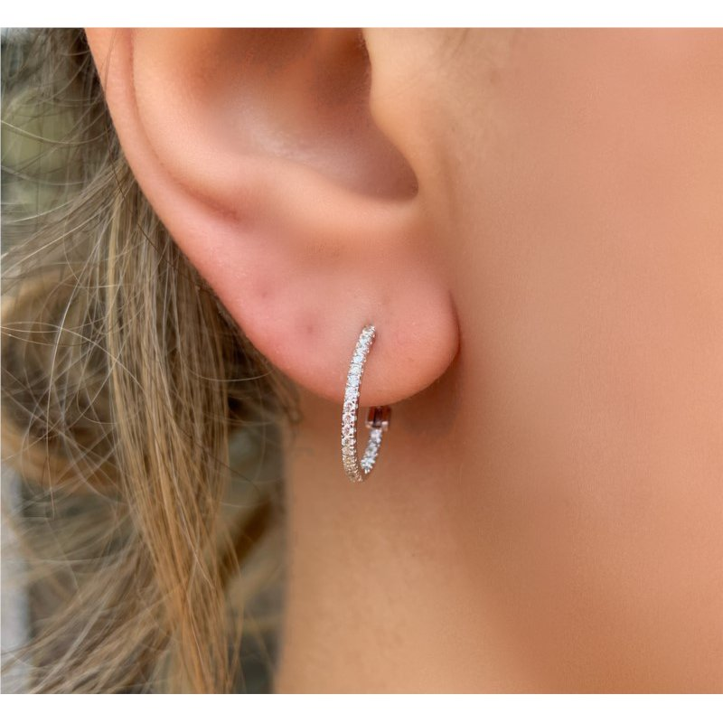 Murphy Pitard Signature Collection Diamond Small Inside Out 1/4 Carats Hoop Earrings