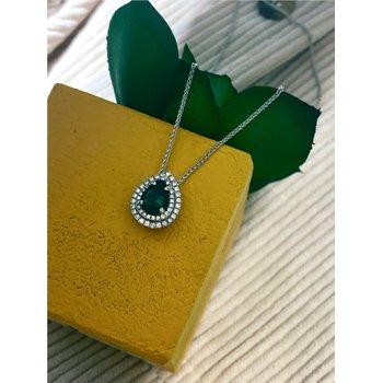 Pear Emerald & Diamond Double Halo Pendant