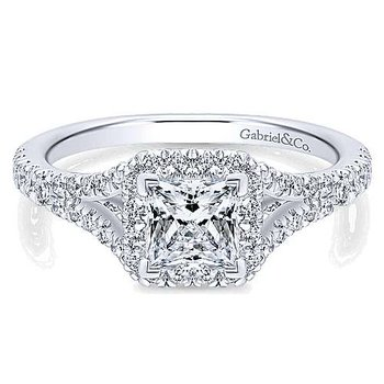 Verbena Princess Diamond Halo Engagement Ring