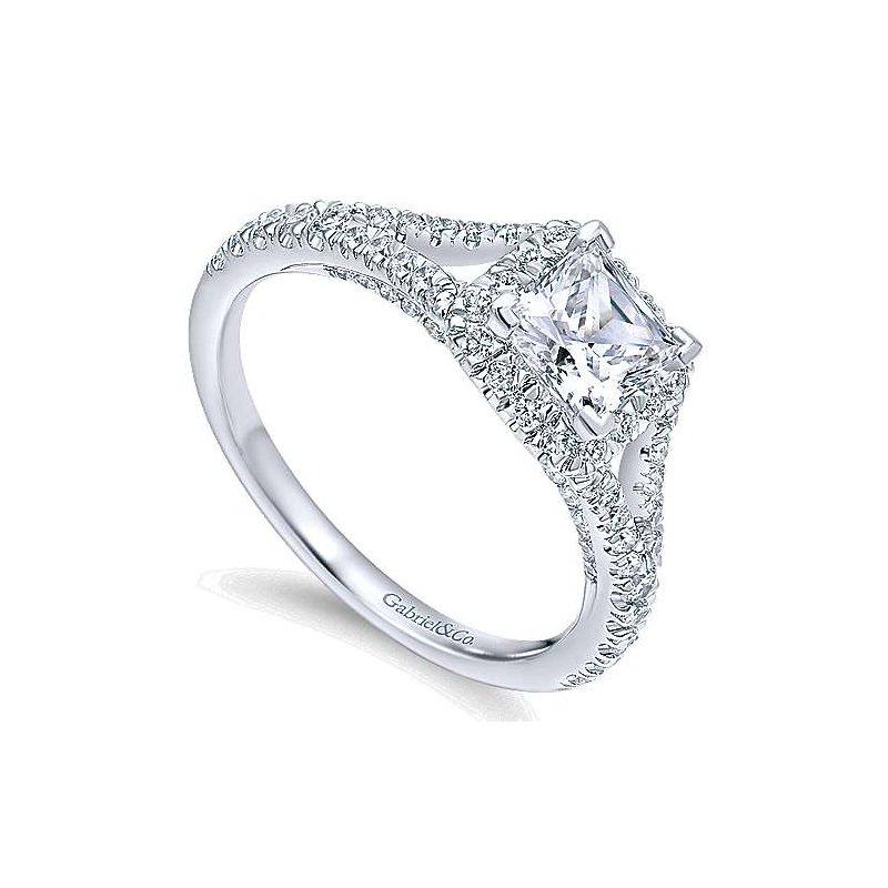 Gabriel & Co. New York Verbena Princess Diamond Halo Engagement Ring