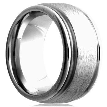 Cobalt Flat & Grooved Edge 8 Millimeter Band, Size 10