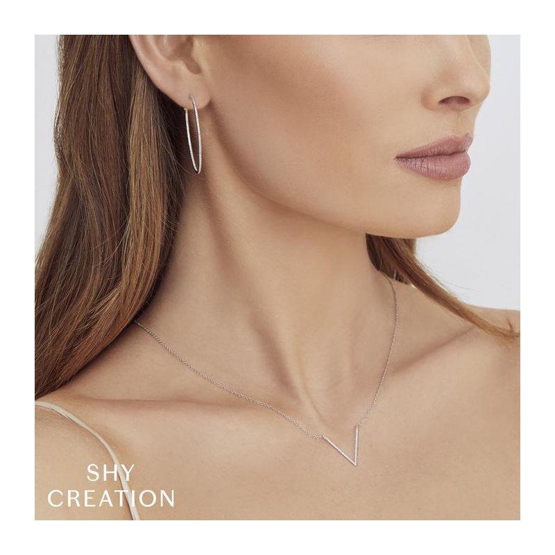 Shy Creation Diamond V Pendant Necklace