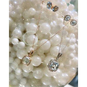 Round Aquamarine Diamond Halo Stud Earrings