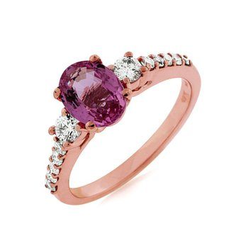 Oval Pink Sapphire Diamond Accented Ring