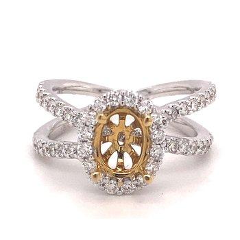 Oval Diamond Halo Criss Cross Engagement Ring