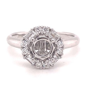 Round & Baguette Diamond Halo Engagement Ring