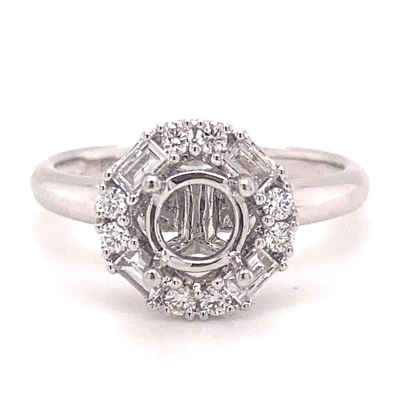 Murphy Pitard Signature Collection Round & Baguette Diamond Halo Engagement Ring