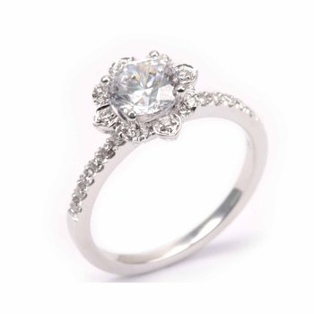 Diamond Vintage Shield Halo Engagement Ring
