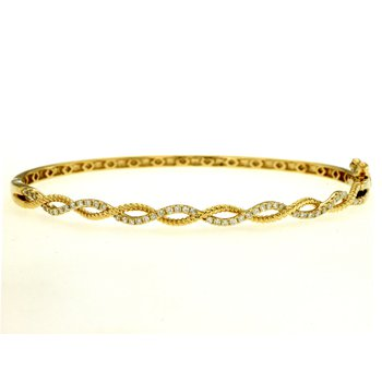 Diamond Open Twist Bangle Bracelet
