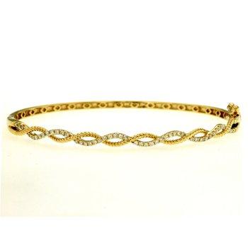 Diamond Open Twist Bangle Bracelet