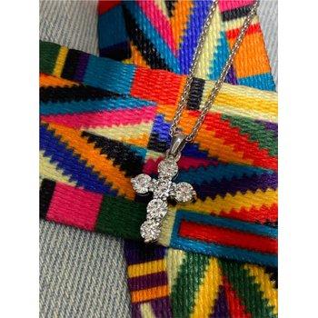 Diamond 1 1/2 Carats 6 Stone Cross Pendant