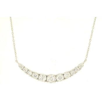 Diamond 1/3 Carats Curved Bar Necklace