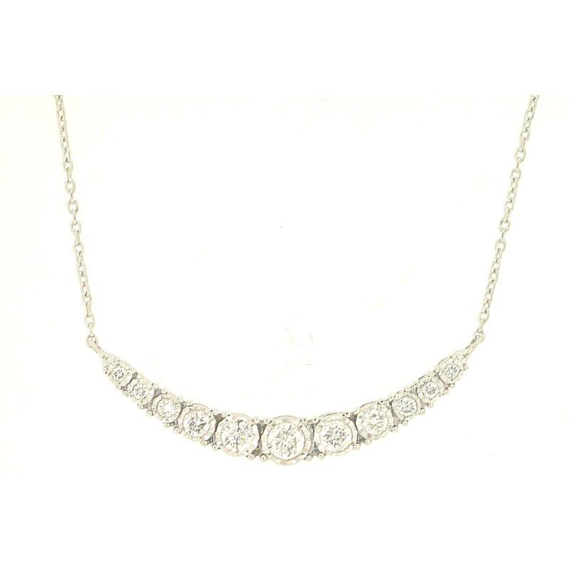 Murphy Pitard Signature Collection Diamond 1/3 Carats Curved Bar Necklace