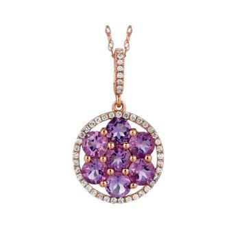 Amethyst Diamond Halo Pendant Necklace