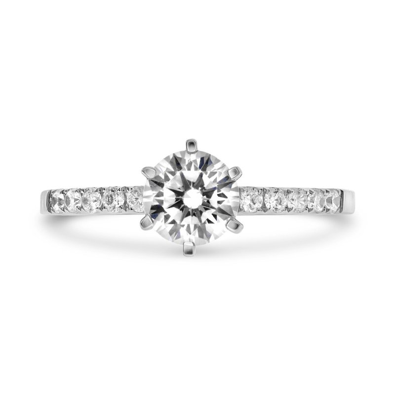 Murphy Pitard Signature Collection Diamond Accented 6 Prong Round Engagement Ring