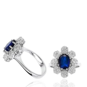 Blue Sapphire & Diamond Halo Floral Inspired Fashion Ring