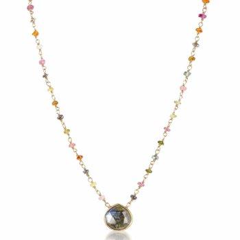 Libi Two Tourmaline And Labradorite Necklace