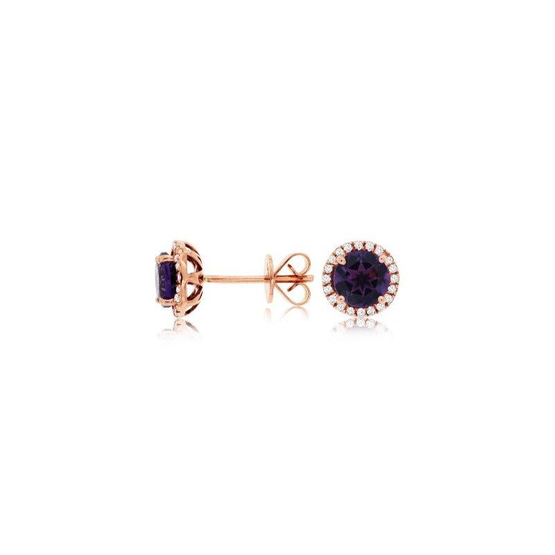 Murphy Pitard Signature Collection Amethyst & Diamond Halo Earrings