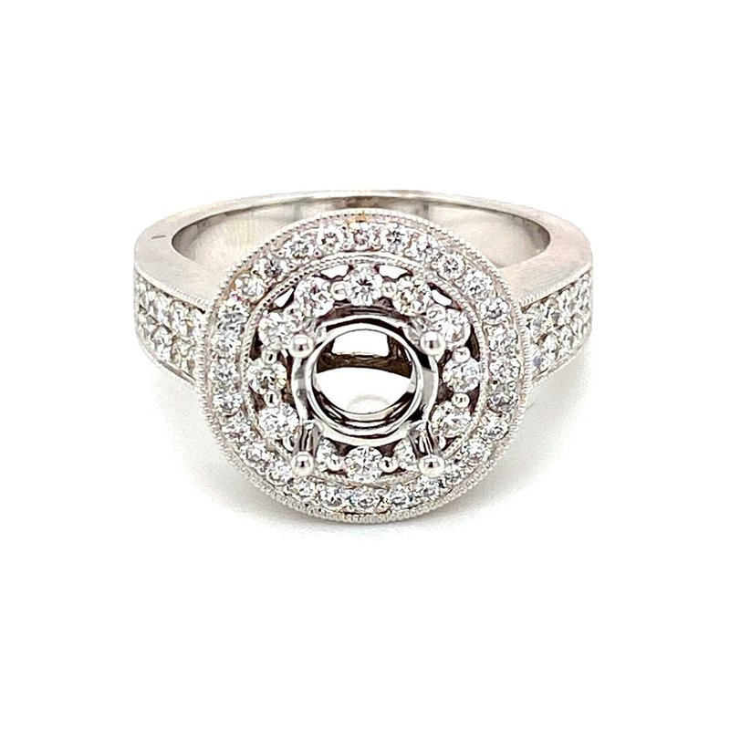 Murphy Pitard Signature Collection Vintage Inspired Round Halo Engagement Ring