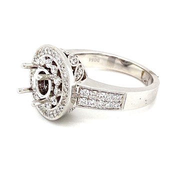 Vintage Inspired Round Halo Engagement Ring