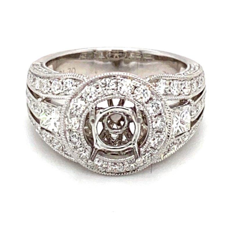 Murphy Pitard Signature Collection Vintage Style Diamond Halo Round Engagement Ring