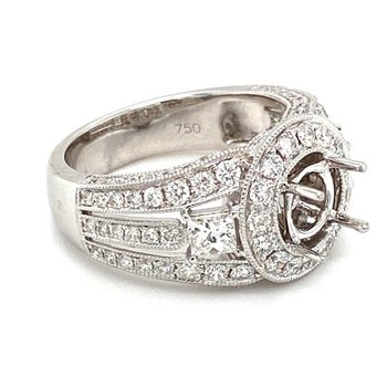 Vintage Style Diamond Halo Round Engagement Ring