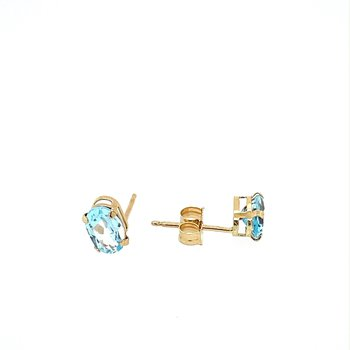 Oval Aquamarine Stud Earrings