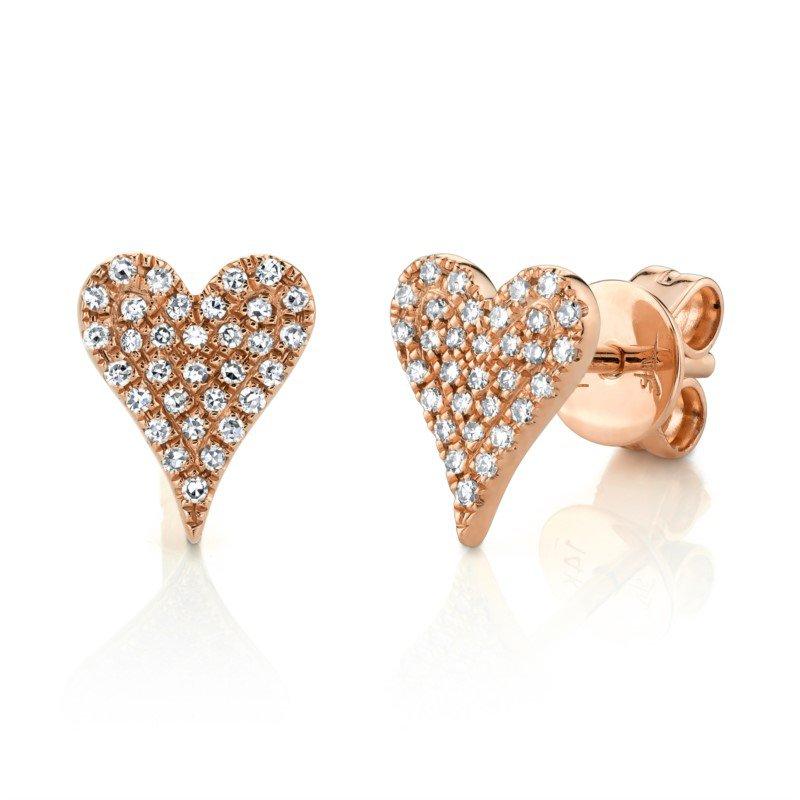 Shy Creation Diamond Pavé Heart Earrings