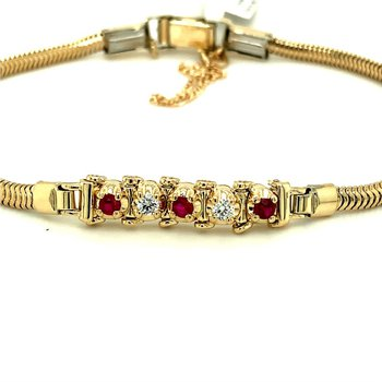 Tennis Style Diamond & Ruby Starter Bracelet