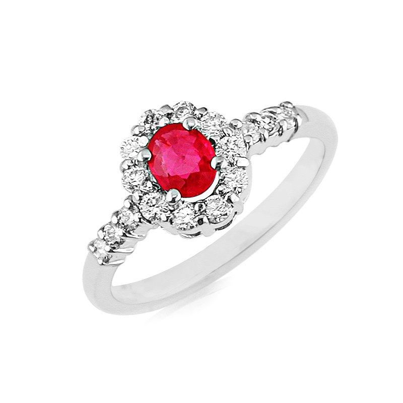 Murphy Pitard Signature Collection Ruby & Diamond Halo Ring