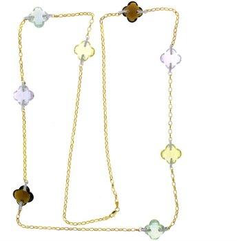 Clover Gemstone & Diamond 40 Inch Station Necklace