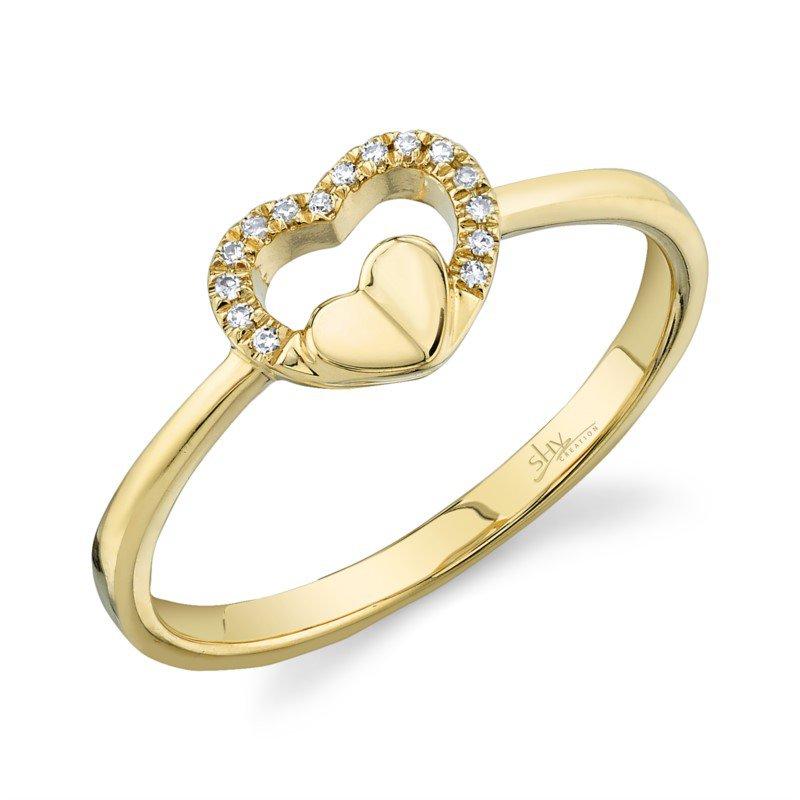 Shy Creation Diamond Open Heart Fashion Ring