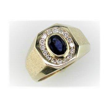 Gents Diamond & Sapphire Ring
