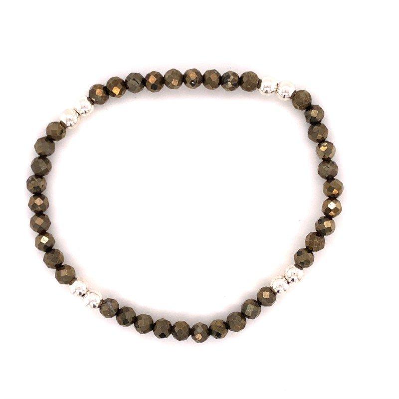 Dee Berkley Sterling Silver and Pyrite Beaded Stretch Bracelet