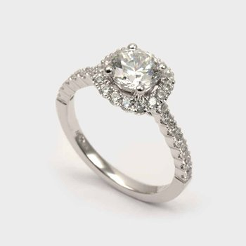 Diamond Accented Round Halo Engagement Ring