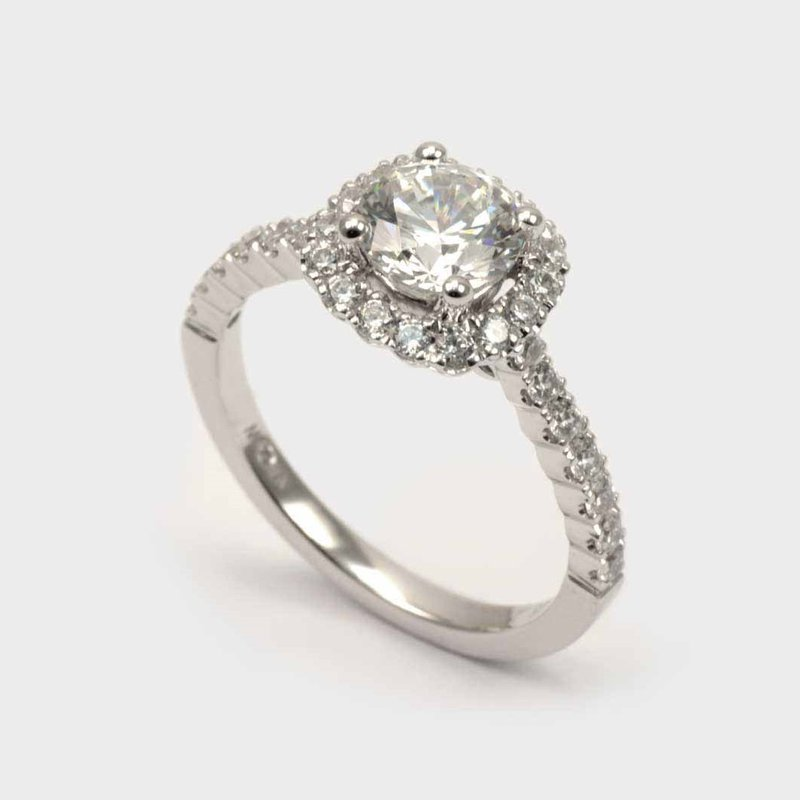Diadori (Cheri Dori) Diamond Accented Round Halo Engagement Ring