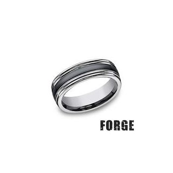 Forge Tungsten and Seranite Two-Tone Design Wedding Band