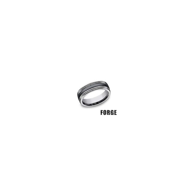 Benchmark Forge Tungsten and Seranite Two-Tone Design Wedding Band