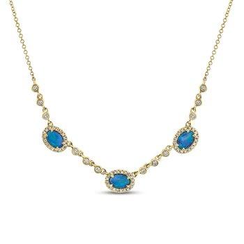 Diamond & Opal Halo Bezel Neclace