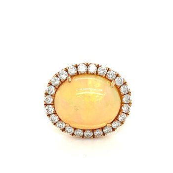 Diamond Halo Oval Opal Fashion Ring