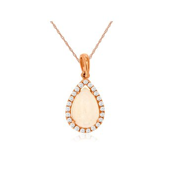 Pear Opal & Diamond Halo Pendant Necklace