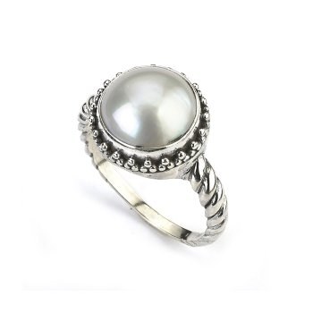 Silver Mabe Pearl Ring
