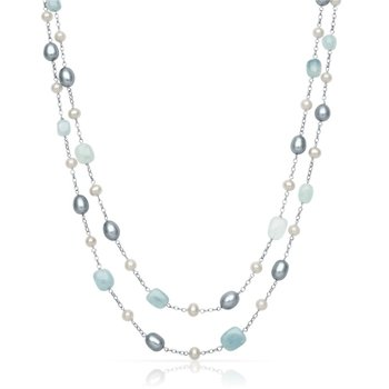 Freshwater Pearl and Aquamarine Double Strand Necklace