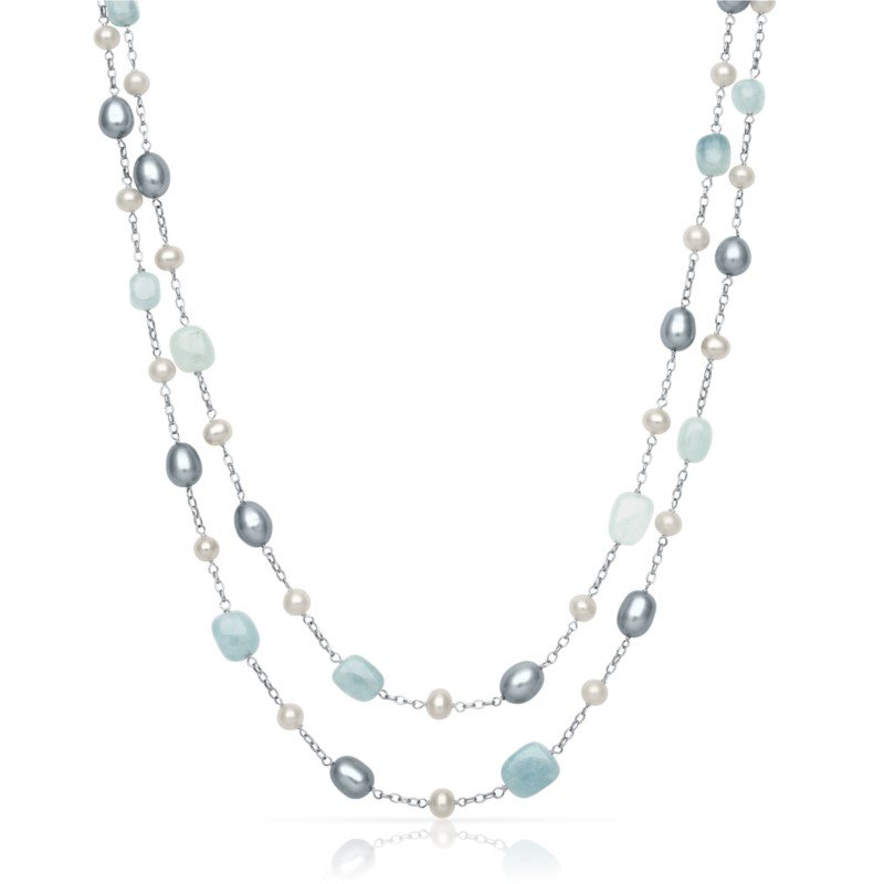 Murphy Pitard Signature Collection Freshwater Pearl and Aquamarine Double Strand Necklace