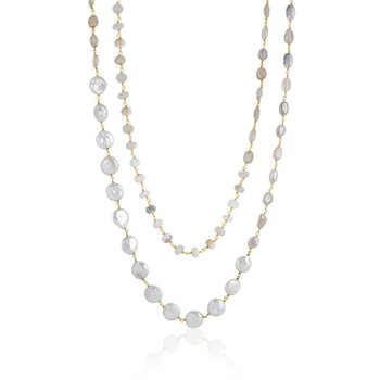 Diana Multi Brown Topaz, Pearl, White Agate, and Pink Moonstone Necklace