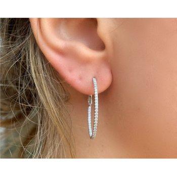 Diamond 1/2 Carat Medium Oval Inside Outside Hoop Earrings